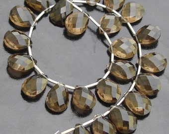6 matched pair of Gorgeous,Best Checker Cut  9X12mm, SMOKY QUARTZ Faceted Pear Briolettes,Best Quality,Great Price