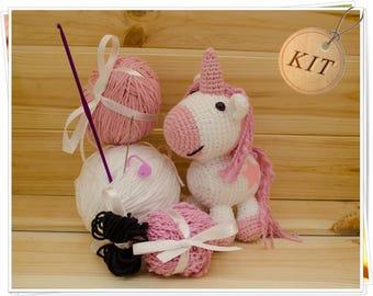 Crochet Unicorn Kit, Amigurumi Unicorn Kit, DIY Unicorn Kit, Pink Unicorn Kit, Unicorn Craft Kit, DIY Unicorn Toy, Crochet Unicorn Gift