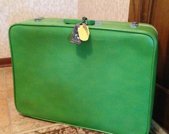 SALE! Vintage Sears Featherlite green luggage suitcase