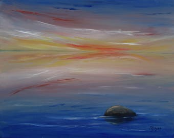 Evening Original acrylic painting on canvas. ready to hang, wall decor