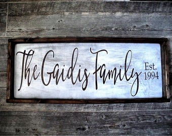 Family Name Sign Framed 3 feet by 1 foot