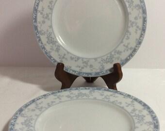 "Noritake ""Lace Shadow"" Salad Plates (2) Blue Gray White Vintage 1990s"
