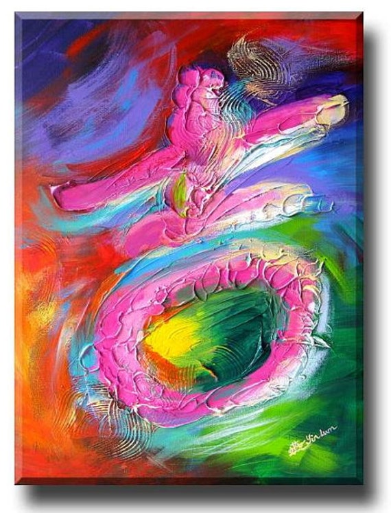 Chinese symbol character Rainbow Art modern Chinese painting on canvas