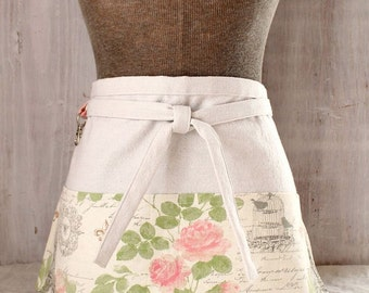 Garden Apron / French Apron / Roses Apron / Gift-for-Her / Shabby Chic Paris Apron / Half Apron