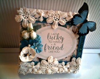 FRIENDSHIP WALL HANGING  Gift  To A Dear Friend Beautiful Friendship plaque Wonderful Birthday Gift Lace Trim Victorian Feel Lovely Decor