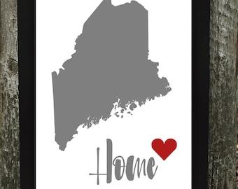 Maine Print, Maine Digital Download Print, States Downloadable Print