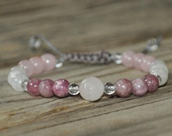 Rose Quartz, Moonstone, Pink Tourmaline, Healing Bracelet, Crystal Healing, Meditation Bracelet, Yoga Bracelet, Healing Crystals, Fertility