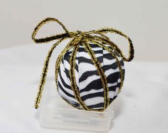 Black & White Zebra Ribbon Christmas Ornament, Christmas Ornaments, Handmade Ornaments