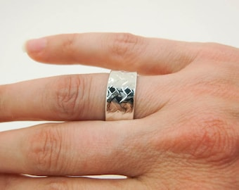 Sterling Silver Ring - Wide Silver Ring - Ribbon Ring - Wide Sterling Silver Ring