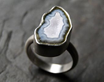 Antarctica Blue and White Geode Ring in Sterling Silver - CUSTOM MADE
