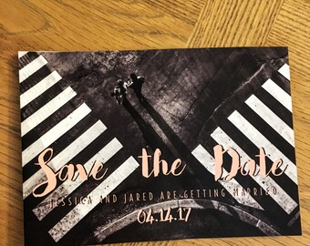 Rustic Save the date, Save the date Postcard, Blush postcard,  in blush, black and white