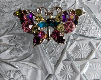 Pretty Multi Colored Rhinestone Butterfly Brooch