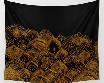 Gold Black Wall Tapestry, black gold tapestry, gold wall tapestry, black wall tapestry, dorm room decor, bohemian tapestry, boho tapestry