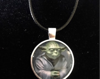 Star Wars Yoda Necklace on Faux Leather Cord