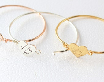 Custom Actual Handwriting Jewelry - Handwriting Bangle - Engraved Signature Bracelet - Keepsake Jewelry - Sentimental Mother Gift