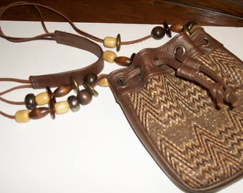 Small Leather Cross Body/Italy/ Leather Shoulder Bag /Purse/Saks Fifth Ave/Beaded Strap/BOHO/1970/Minimalist Bag