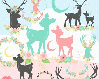 80% OFF SALE Deer clipart, fawn clipart commercial use, baby animals clipart vector graphics, antler clipart, flower digital images - CL1169