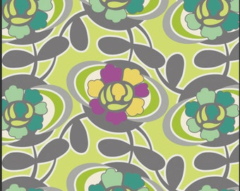 Fabric Spellbound 'Vert Blooming Trellis' Pat Bravo Art Gallery Green Teal Gray Yellow