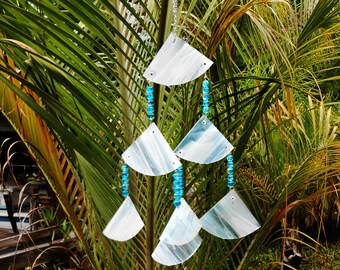 Glass Wind Chimes, Suncatcher, Glass Yard Art, Garden Decor, Stained Glass Windchimes, Iridescent Glass Suncatcher, Handmade Hostess Gift