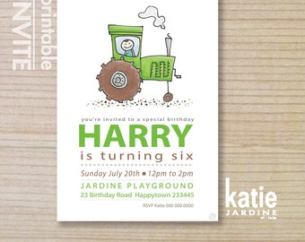 GREEN tractor  - farm invitation - kids invitation - boys invitation - childrens invitation -  printable invitation - farm tractor
