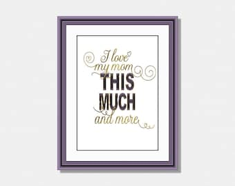 Mothers Day Print, Love Mom Print, Mom Printable Quote, Digital Download, Mom Wall Art, Mom Printable, Instant Download