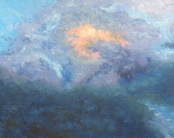 Impressionist oil painting of sun shining through clouds