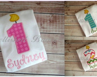Personalized Appliqued Birthday Number Candle T-shirt for Boys or Girls