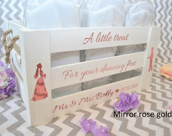 open toe spa slippers presented in a gorgeous crate dancing feet wedding decoration a little treat for your dancing feet