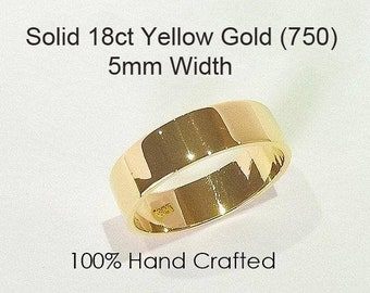 18ct 750 Solid Yellow Gold Ring Wedding Engagement Friendship Friend Flat Band NEW 5mm
