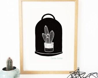 Affiche scandinave - Cactus - cloche - grand format  - décoration murale - noir et blanc - graphique