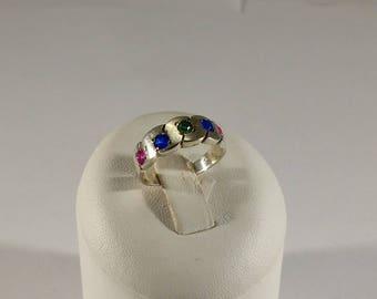 17.6 mm Ring Silver 925 Emerald Rubies sapphires SR771