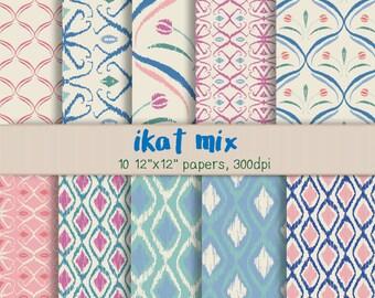 Ikat Digital Papers - Digital Scrapbooking - Ikat Scrap Paper -Blue, Green, Pink, Beige Ikat Patterns for Cardmaking, Scrapbook, More