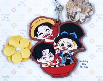 One Piece Ace Sabo Luffy Rubber Charm