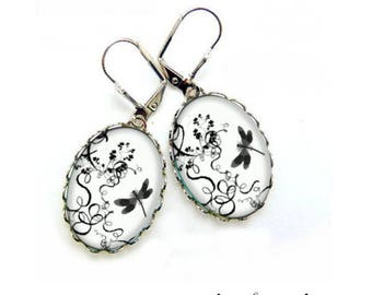 Earrings Cabochonschmuck cabochon 18 x 25 mm dragonfly in Nature 2