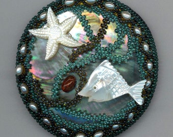 Mother of Pearl Beadwoven Beaded Brooch . Mermaid Pearls . Fish, Starfish, Ocean . Red Agate - Pisces Zodiac OOAK by enchantedbeads on Etsy