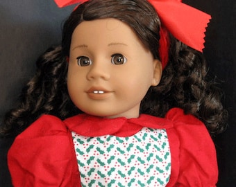 "Christmas Pinafore Dress with Red Top for 18"" Doll such as American Girl"