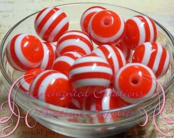 20mm Red and White Striped Beads Qty 10, Candy Cane, Chunky Bead, Bubblegum Beads, Gumball Beads, Chunky Jewelry Beads, Acrylic Beads, Resin