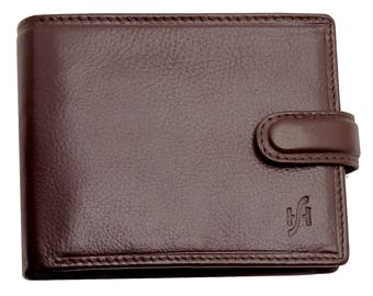Starhide Men's Gents Brown Vegetable Tanned Luxury Real Leather Wallet Purse For Banknotes, Credit Cards, Coins & Photo ID