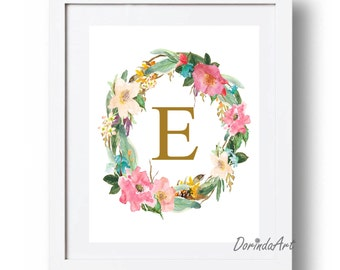 Gold and pink Monogram wreath Nursery Watercolor monogram wall print Floral Personalized initial printable Custom Gift for girls DOWNLOAD