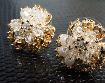 Sweet and Elegant Hand Wrapped 18K Chrystal Floral Cluster Earrings