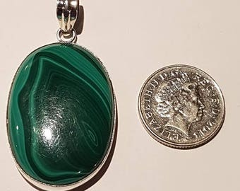 Large Green Malachite Pendant set in 92.5 Solid Sterling Silver New Item