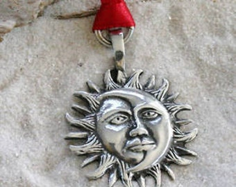 Pewter Sun Moon Face Lunar Solar Celestial Pagan Christmas Ornament and Holiday Decoration (21E)