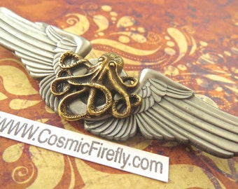 Steampunk Pin Flying Octopus Flight Wings Gothic Victorian Metal Pilot Wings Badge Primitive Antiqued Finish Steampunk Brooch