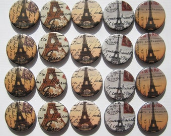 """france and eiffel tower themed set of 20 1"""" or 1.25"""" buttons. chose from pin, flat, hollow or magnet back"""