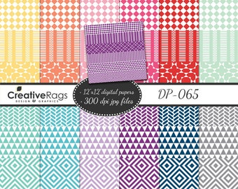 "12 Washi Tape Borders Designs Patterns Lines Geometric Digital Paper Pack 12""x 12"" Printable Paper CU Instant Download Kit:DP-065"