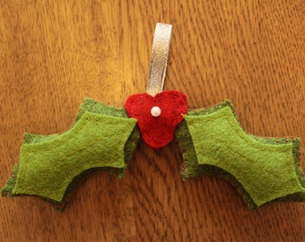 Handcrafted Holly Christmas Tree Decoration