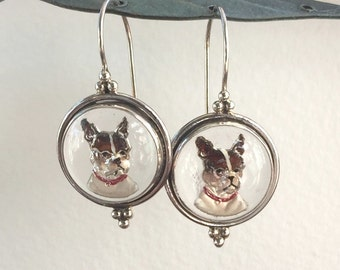 Vintage glass and sterling silver earrings painted Bulldog Cameo image