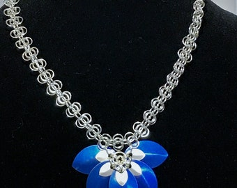 5-Petal Scale Maille Flower on Chain Maille Necklace, Blue and Silver