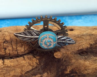 Steampunk Ring - Flower Ring - Steampunk Flower Ring - OOAK Steampunk Ring - Adjustable Ring