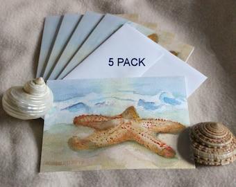 Starfish Blank Note Cards Beach Party Invitations Beach House Hostess Thank You Gift Summer Watercolor Greeting Card Sea Star Seashore Shore